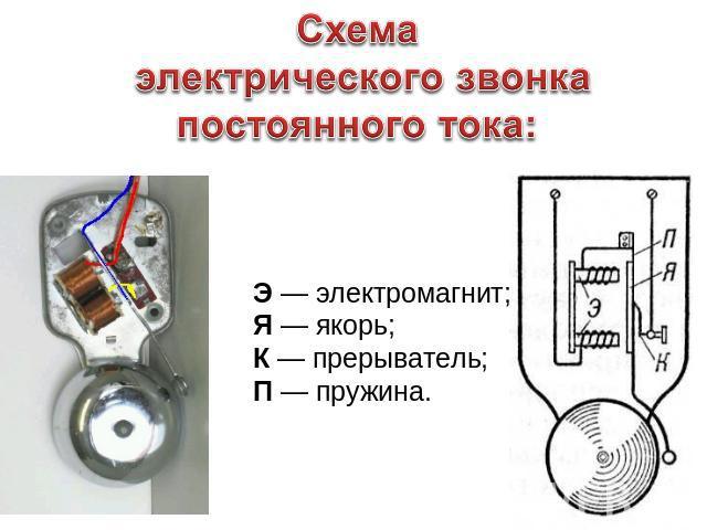 Схема электрического звонка