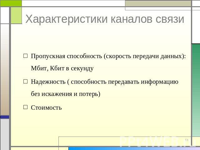 Классификация каналов связи. Информационные модели каналов ...
