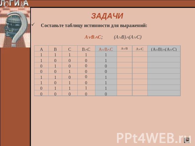 Составьте таблицу истинности функции