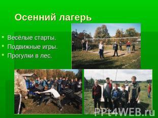 Осенний лагерь Весёлые старты. .  Подвижные игры. .  Прогулки в лес.