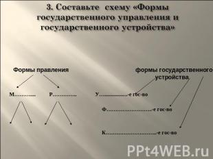 """3. Составьте схему  """"Формы государственного управления и государственного устройства """" ."""