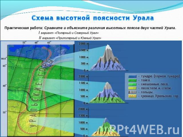 Схема высотной поясности Урала