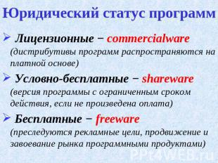 Лицензионные на тему презентацию программы