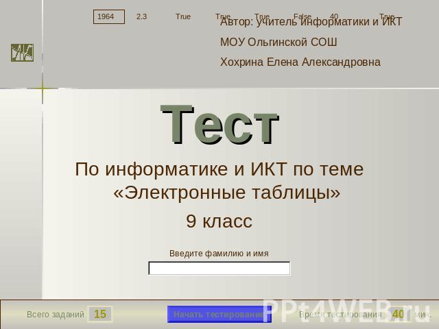 Тест по Информатике 9 Класс Электронные Таблицы