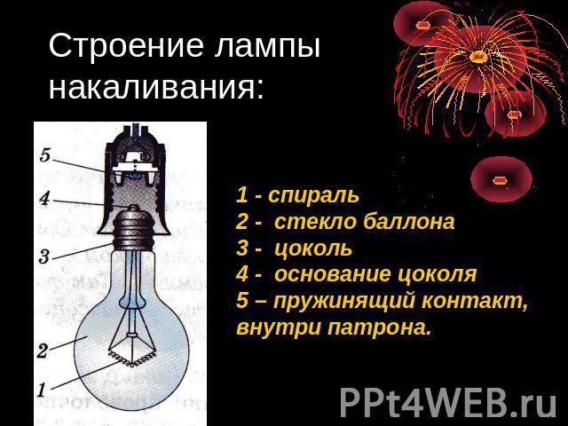 Строение лампы накаливания: 1