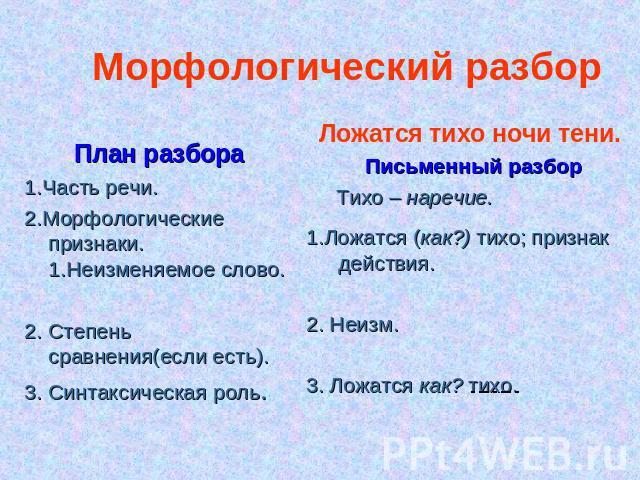 Как сделать морфологический разбор наречие