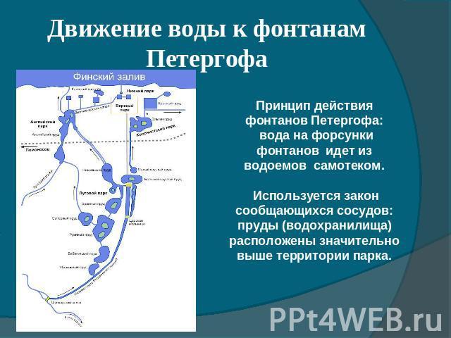 Движение воды к фонтанам Петергофа Принцип действия фонтанов Петергофа: вода на форсунки фонтанов идет из водоемов самотеком. Используется закон сообщающихся сосудов: пруды (водохранилища) расположены значительно выше территории парка.