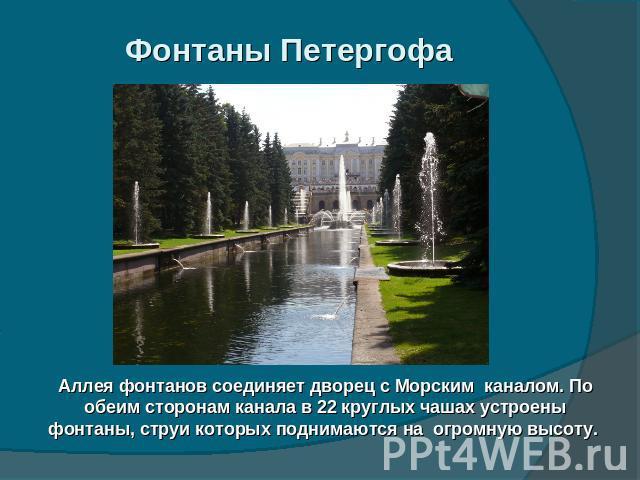 Фонтаны Петергофа Аллея фонтанов соединяет дворец с Морским каналом. По обеим сторонам канала в 22 круглых чашах устроены фонтаны, струи которых поднимаются на огромную высоту.