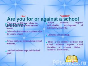 "Are you for or against a school uniform? ""for"" There are no ..."