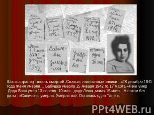 Шесть страниц –шесть смертей .Сжатые, лаконичные записи : «28 декабря 1941 года