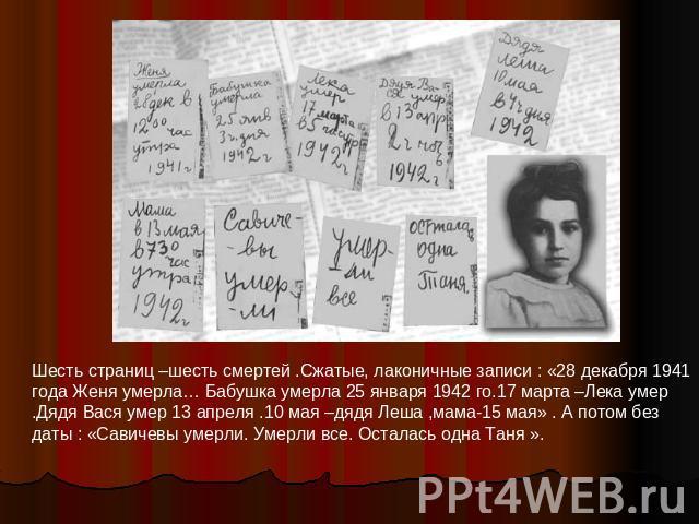 Шесть страниц –шесть смертей .Сжатые, лаконичные записи : «28 декабря 1941 года Женя умерла… Бабушка умерла 25 января 1942 го.17 марта –Лека умер .Дядя Вася умер 13 апреля .10 мая –дядя Леша ,мама-15 мая» . А потом без даты : «Савичевы умерли. Умерл…