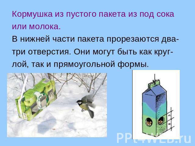 Кормушка для птиц из пакета молока