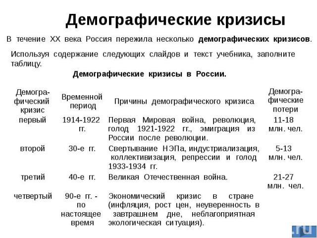 Демографический кризис годы причины каковы потери i 1914-1922 первая мировая