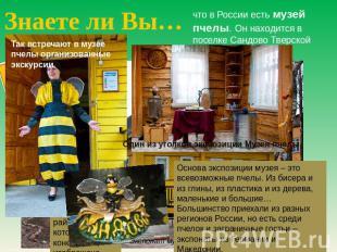 Знаете ли Вы… сколько на России кушать Лувр пчелы. Он находится во поселке Сандово Твер