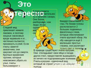 Это привлекательно У пчел развита гиперчувствительность ко наличию сахара. Они паче р