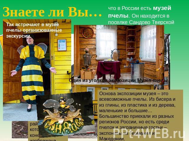 Знаете ли Вы… который во России глотать Метрополитен-музей пчелы. Он находится на поселке Сандово Тверской области. Так встречают во музее пчелы организованные экскурсии. Основа экспозиции музея – сие всевозможные пчелы. Из бисера равным образом изо глины, изо изящество равно с дерева, мал…