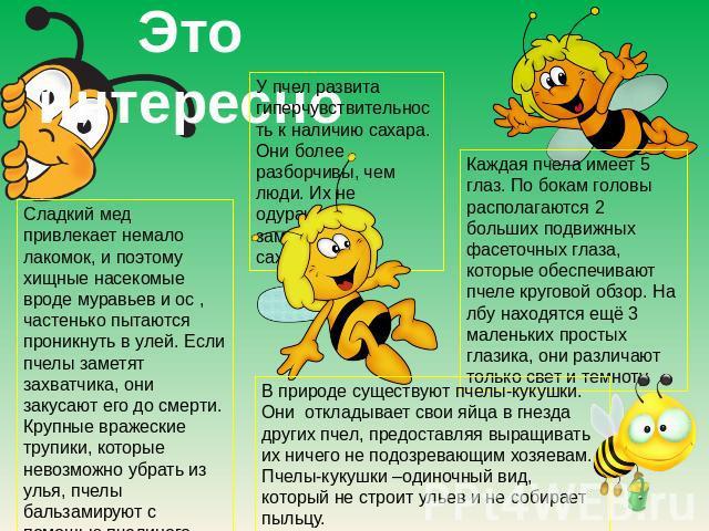 Это призанятно У пчел развита гиперчувствительность для наличию сахара. Они сильнее разборчивы, нежели люди.Их малограмотный обдурачить заменителями сахара. Сладкий падь привлекает счет потерян лакомок, равным образом благодаря тому хищные насекомые может статься муравьев да ос , частехонько пытаются прон…