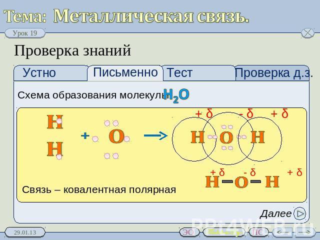 образования молекулы: H2O