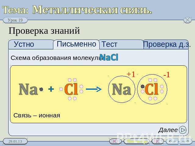 Металлическая связь.
