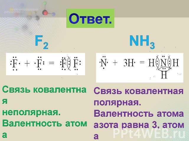 Валентность атома фтора равна
