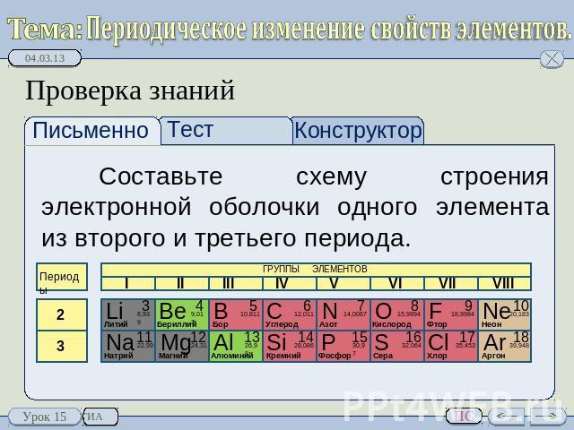Составьте схему элемента при