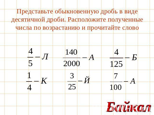 Как перевести дробь в десятичную. Перевод дробей в