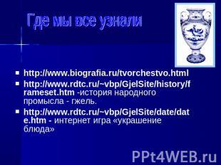http://www.biografia.ru/tvorchestvo.html http://www.biografia.ru/tvorchestvo.htm