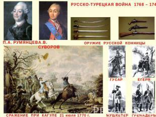 РУССКО-ТУРЕЦКАЯ ВОЙНА 1768 – 1744 П.А. РУМЯНЦЕВ А.В. СУВОРОВ ОРУЖИЕ РУССКОЙ КОНН