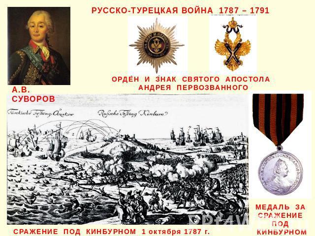 РУССКО-ТУРЕЦКАЯ ВОЙНА 1787 – 1791 А.В. СУВОРОВ ОРДЕН И ЗНАК СВЯТОГО АПОСТОЛА АНДРЕЯ ПЕРВОЗВАННОГО СРАЖЕНИЕ ПОД КИНБУРНОМ 1 октября 1787 г. МЕДАЛЬ ЗА СРАЖЕНИЕ ПОД КИНБУРНОМ