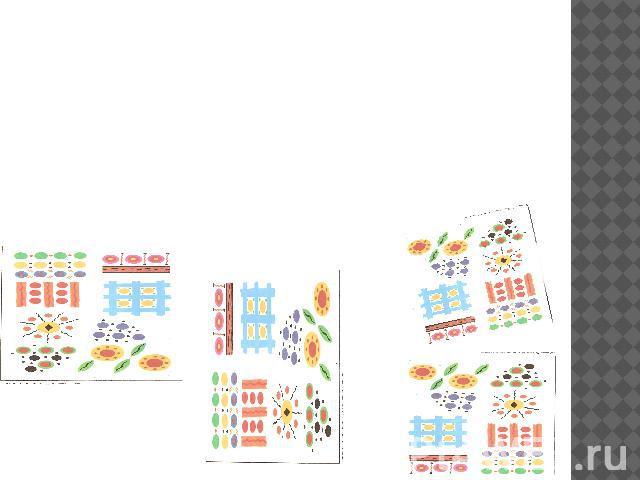 ЭЛЕМЕНТЫ РОСПИСИ Особенностью дымковской игрушки является простой геометрический орнамент, состоящий из ярких пятен, кругов, зигзагов и полосок разной толщины
