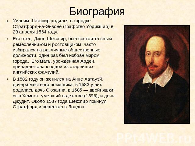 Уильям Шекспир Презентация
