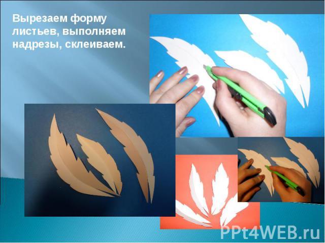 Вырезаем форму листьев, выполняем надрезы, склеиваем.