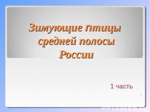 зимние птицы средней полосы россии