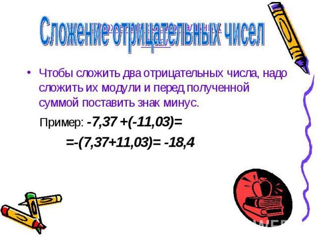 Сложение Отрицательных Чисел Презентация