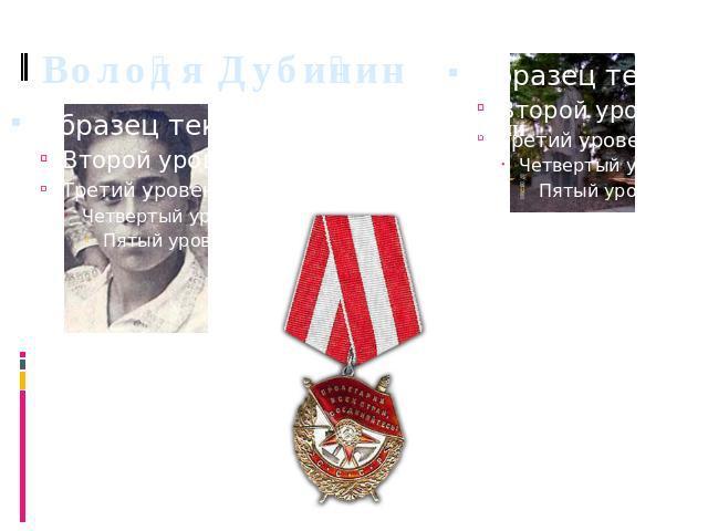 Володя Дубинин Орден Красного Знамени (Посмертно).
