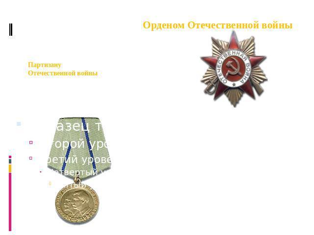 Медаль Партизану Отечественной войны 0 степени (Посмертно). Орденом Отечественной войны 0 степени.