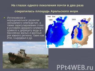 На глазах одного поколения почти в два раза сократилась площадь Аральского моря.