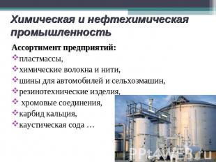 Химическая и нефтехимическая промышленность Ассортимент предприятий:пластмассы,х