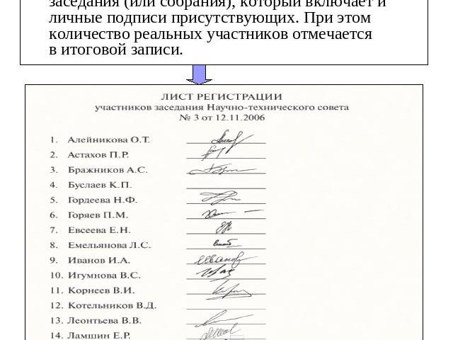Лист регистрации Так выглядит