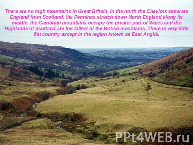 There are no high mountains in Great Britain. In the north the Cheviots separate England from Scotland, the Pennines stretch down North England along its middle, the Cambrian mountains occupy the greater part of Wales and the Highlands of Scotland a…