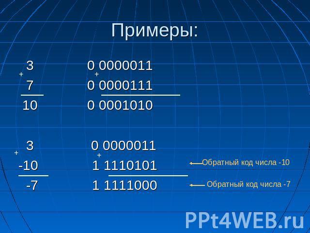 кодирование целых чисел со знаком и без знака
