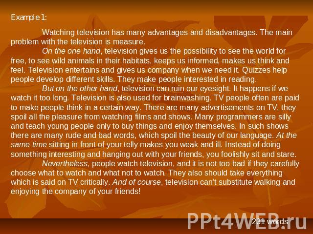 Essay on advantages and disadvantages of television 170-200 words