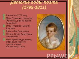 Детские годы поэта(1799-1811) Родился во 0779 годуМать Пушкина - Надя Осиповна
