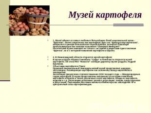 Музей картофеля 1. Музей одного из самых любимых бельгийцами блюд национальной к