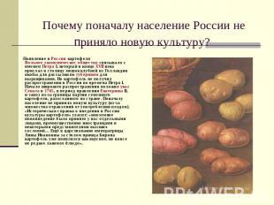 Почему поначалу население России неприняло новую культуру? Появление в России ка