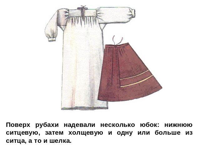 Поверх рубахи надевали небольшую толику юбок: нижнюю ситцевую, спустя время холщевую да одну либо хлеще изо ситца, а в таком случае да шелка.
