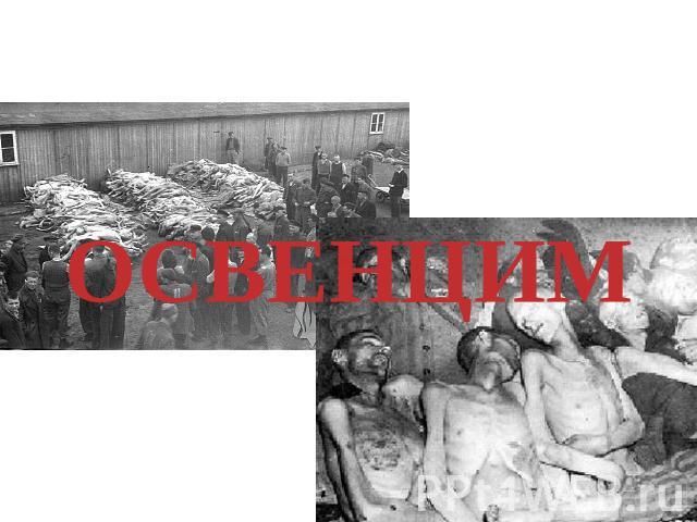Концлагеря- ужасный изображение массового уничтожения людей гитлеровскими преступниками. Здесь гоминидэ умирали через голода, пыток, экспериментов которые ставили по-над ними.ОСВЕНЦИМ