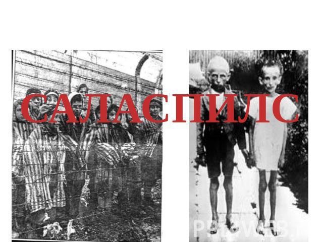 Детей использовали вроде доноров про сдачи крови, в целях раненных бойцов вермахта.САЛАСПИЛС