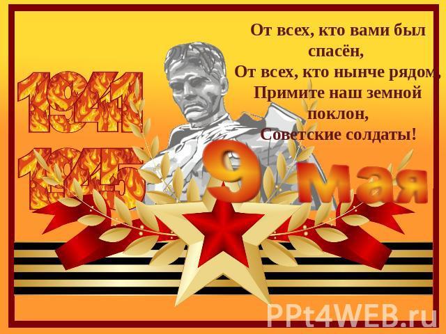 От всех, кто именно вами был спасён, От всех, кто такой днесь рядом,Примите отечественный подсолнечный поклон,Советские солдаты!
