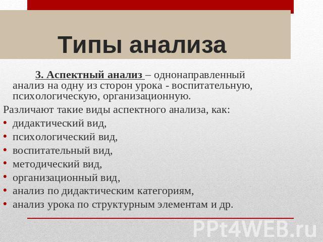 Типы анализа 3.